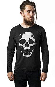 Camiseta Masculina  Manga Longa Skull Ghost - Nerd e Geek - Presentes Criativos