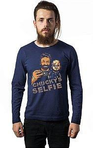 Camiseta Masculina  Manga Longa Selfie Chucky - Nerd e Geek - Presentes Criativos