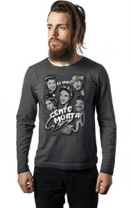Camiseta Masculina  Manga Longa Escuto gente Morta - Nerd e Geek - Presentes Criativos