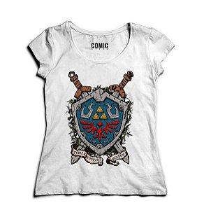 Camiseta Feminina Link - Escudo - Nerd e Geek - Presentes Criativos