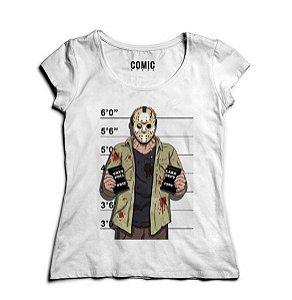 Camiseta Feminina Jason - Suspeito  - Nerd e Geek - Presentes Criativos