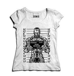 Camiseta Feminina Homem de Ferro - Suspeito