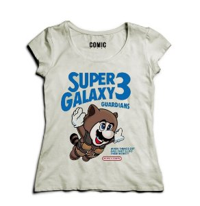 Camiseta Feminina Super Galaxy - Mario - Nerd e Geek - Presentes Criativos