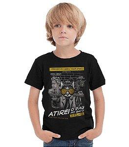Camiseta Infantil Atirei o pau no Gato - Nerd e Geek - Presentes Criativos