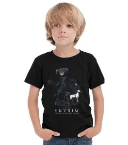 Camiseta Infantil Caverna do Dragão - Skyrim - Nerd e Geek - Presentes Criativos