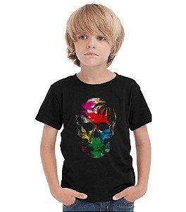Camiseta Infantil Skull - Nerd e Geek - Presentes Criativos