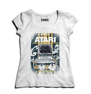 Camiseta Feminina Atari Video Game - Nerd e Geek - Presentes Criativos