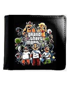 Carteira  Grand Theft Mario - Nerd e Geek - Presentes Criativos
