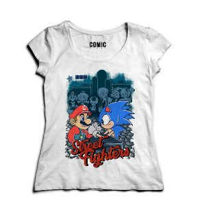 Camiseta Feminina Sonic vs Mario Bros Street Fighter  - Nerd e Geek - Presentes Criativos