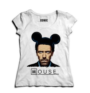 Camiseta Feminina Dr House: Mouse - Nerd e Geek - Presentes Criativos