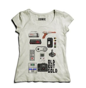 Camiseta Feminina Old But Gold - Nerd e Geek - Presentes Criativos