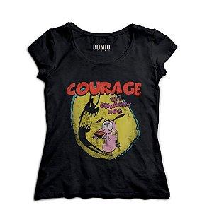 Camiseta Feminina Cachorro Coragem - Nerd e Geek - Presentes Criativos
