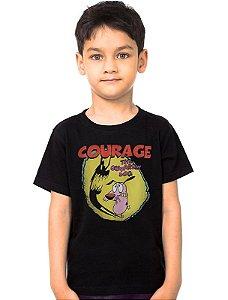 Camiseta Infantil Cachorro Coragem   - Nerd e Geek - Presentes Criativos