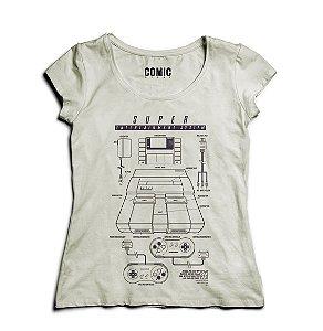 Camiseta Feminina Super Nintendo - Nerd e Geek - Presentes Criativos