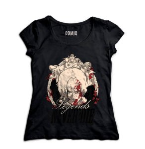 Camiseta  Feminina Anime One Piece Legends Never Die - Nerd e Geek - Presentes Criativos