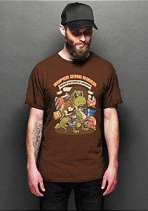 Camiseta Masculina  Super Dino Rider - Nerd e Geek - Presentes Criativos
