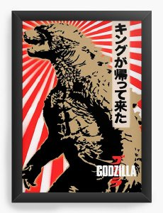 Quadro Decorativo Godzilla - Nerd e Geek - Presentes Criativos