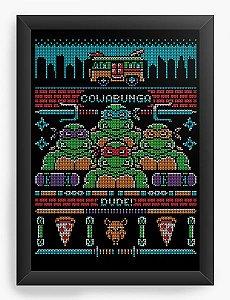 Quadro Decorativo A4 (33X24) Tartarugas - Nerd e Geek - Presentes Criativos
