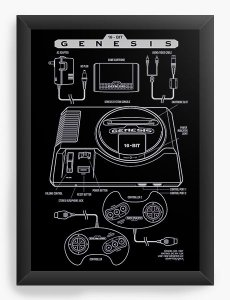 Quadro Decorativo A4 (33X24) Mega Drive - Nerd e Geek - Presentes Criativos