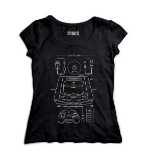 Camiseta Feminina Saturn - Nerd e Geek - Presentes Criativos