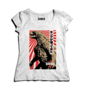 Camiseta Feminina Godzila Nerd e Geek - Presentes Criativos
