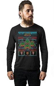 Camiseta Masculina Manga Longa Tartarugas Nerd e Geek - Presentes Criativos