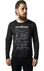 Camiseta Masculina Manga Longa Mega Drive Nerd e Geek - Presentes Criativos