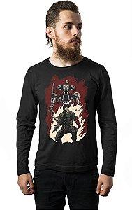 Camiseta Masculina Manga Longa Hellboss Nerd e Geek - Presentes Criativos