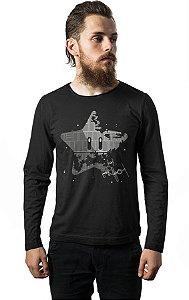 Camiseta Masculina Manga Longa Super Estrela da Morte Nerd e Geek - Presentes Criativos