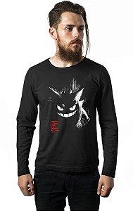 Camiseta Masculina Manga Longa  Gengar - Nerd e Geek - Presentes Criativos