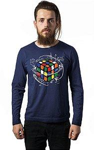 Camiseta Masculina Manga Longa Cubo Magico - Nerd e Geek - Presentes Criativos