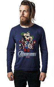 Camiseta Masculina Manga Longa Herois - Nerd e Geek - Presentes Criativos