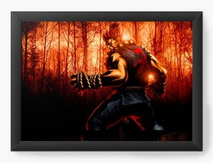 Quadro Decorativo A3 (45X33)  Street Fighter Akuma - Nerd e Geek - Presentes Criativos