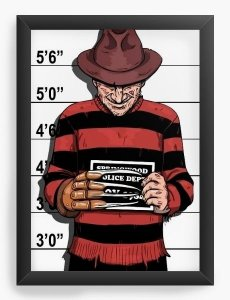 Quadro Decorativo A3 (45X33) Freddy Krueger - Nerd e Geek - Presentes Criativos