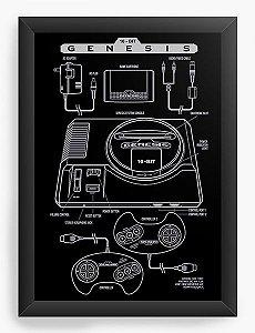 Quadro Decorativo A3 (45X33) Mega Drive - Nerd e Geek - Presentes Criativos