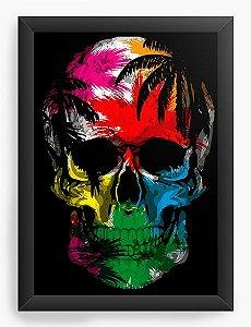 Quadro Decorativo A3 (45X33) Skull Colorful - Nerd e Geek - Presentes Criativos
