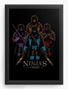 Quadro Decorativo A3 (45X33) Tartarugas Ninjas - Nerd e Geek - Presentes Criativos