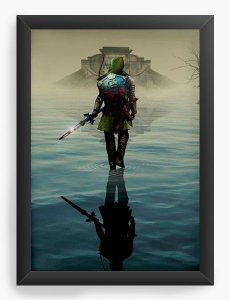Quadro Decorativo A3 (45X33) The Legend of Zelda - Link over water - Nerd e Geek - Presentes Criativos