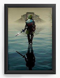 Quadro Decorativo A3 (45X33) The Legend of Zelda - Link over water - Nerd e Geek - Presentes Criativos