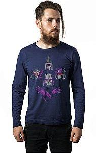 Camiseta Masculina Manga Longa Transformers - Nerd e Geek - Presentes Criativos