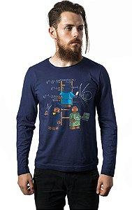 Camiseta Masculina Manga Longa Lego - Nerd e Geek - Presentes Criativos