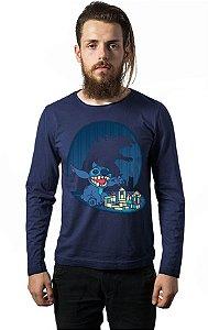 Camiseta Masculina Manga Longa Stitch - Nerd e Geek - Presentes Criativos