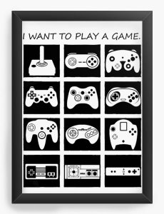 Quadro Decorativo A4 (33X24) Play Game - Nerd e Geek - Presentes Criativos