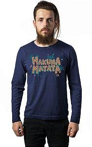 Camiseta Masculina Manga Longa Hakuna Matata - Nerd e Geek - Presentes Criativos
