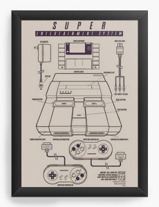 Quadro Decorativo A3 (45X33) Super Nintendo - Nerd e Geek - Presentes Criativos