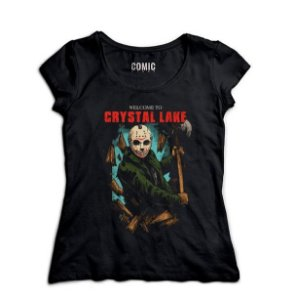 Camiseta Feminina  Jason Crystal Lake - Nerd e Geek - Presentes Criativos