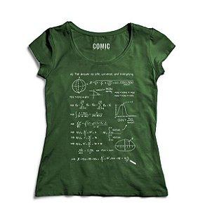 Camiseta Feminina  Formula Universe - Nerd e Geek - Presentes Criativos