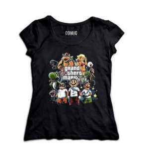 Camiseta Feminina Grand Theft Mario - Nerd e Geek - Presentes Criativos