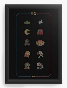 Quadro Decorativo A4 (33X24) Retro Games - Nerd e Geek - Presentes Criativos