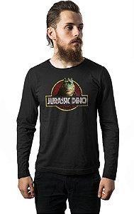 Camiseta Masculina Manga Longa  Jurassic Dino - Nerd e Geek - Presentes Criativos